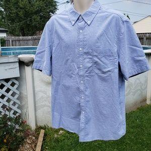 Mens George Sz L Chambray S/S Button Down Shirt